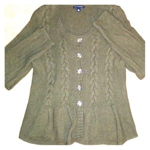Knit army green button down sweater